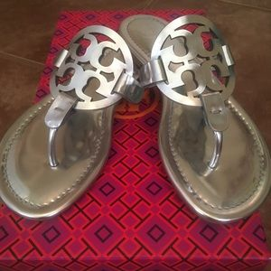 Tory Burch Miller Sandals Mirror Metallic 5.5